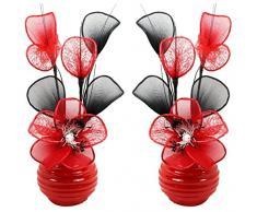 Flourish Creative Florals A juego Par de rojo flores artificiales en jarrón rojo, decoraciones de mesa, accesorios para el hogar, regalos, adornos, altura 32 cm