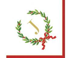 Caspari Entertaining con corona de laurel de Navidad Monogram inicial J papel servilletas de cóctel, color blanco, Pack de 30