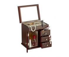 Relaxdays joyero joyero de madera con espejo, para collares, anillos, joyas caja hxbxt 10 x 18,5 x 13 cm, color marrón