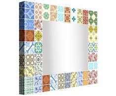 Ccretroiluminados Azulejo Portugues Pequeños Espejo de Baño con Luz, Acrílico, Multicolor, 100x100x5,3 cm