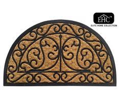 EHC - Felpudo, goma y fibra de coco natural de Panamá, diseño de media luna, multicolor
