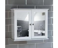 Home Discount Milano doble puerta efecto espejo armario de baño armario de almacenamiento montado en la pared, color blanco