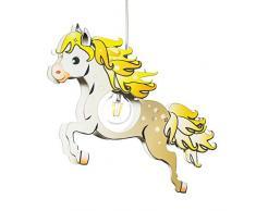 elobra lámpara infantil caballo – Lámpara de techo para niños, madera, 40 W, marrón