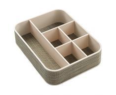 InterDesign Twillo Organizador de escritorio con 6 divisiones | Separador de cajones para artículos de papelería | Organizador de oficina con tejido de plástico | Plástico champán