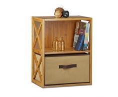 Relaxdays Estantería con Cesta de almacenaje, Madera, Dos estantes, Caja Plegable, 54 x 42 x 49 cm, 1 Ud, Marrón, Bambú