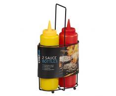 Chef Aid Salsa botellas en soporte de alambre, Multi, 3 piezas