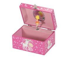 Mele & Co Katey - Joyero con diseño de Unicornio y Princesa, Color Rosa, 15 cm x 10 cm x 8 cm