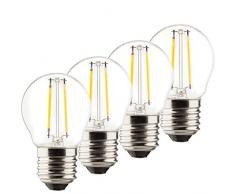 Müller-Licht–400029a + +, 4er Juego de Retro de bombilla LED Mini Globe sustituye a 25W, cristal, E27, color blanco, 4.5x 4.5x 7.6cm