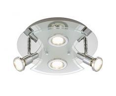 Briloner Leuchten 2159–048lm a +, lámpara de techo, lámpara de techo, lámpara foco led, Focos, Salón, Metal, 3W, cromo, 30x 30x 11cm