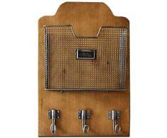 Carrick – Estante de pared con madera de haya diseño organizador para cartas y ganchos 45 x 10 x 30 cm, multicolor