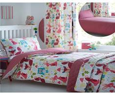 Kidz Club infantil Wildwood 2 cama doble de funda de edredón y de almohada juego de cama Ropa de cama con las ardillas, búhos, en, diseño de conejos, color blanco