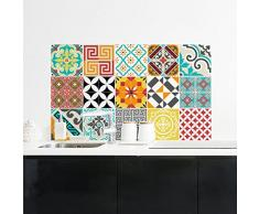 15 Stickers Adhesivos carrelages | adhesivo adhesivo azulejos – Mosaico Azulejos de pared de baño y cocina | azulejos adhesiva – azulejo MULTICOULEUR – 10 x 10 cm – 15pièces