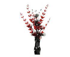 Flourish 724627 E13 - Florero con flor artificial de color rojo y negro, color rojo/negro, 80 cm, grande