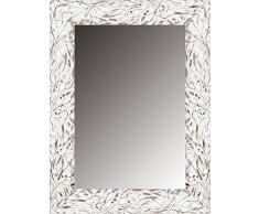 Lienzos Levante Espejo Decorativo Baño/Recibidor, Madera, Blanco y Plata, 99 x 77 cm