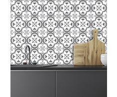Ambiance-Live 24Pegatinas Adhesivos carrelages | Adhesivo Adhesivo Azulejos–Mosaico Azulejos de Pared de baño y Cocina | Azulejos Adhesiva–Tradicionales–10x 10cm–24Piezas