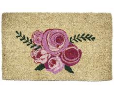 Entryways – Felpudo Felpudo fibra de coco tejida a mano), diseño de rosas, color rosa