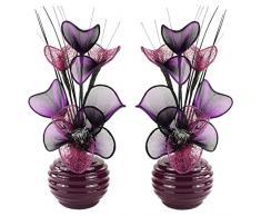 A juego de flores artificiales combinado morado y negro en florero negro, decoraciones de mesa, accesorios para el hogar, regalos, adornos, vidrio, Purple/Black in Violet Vase, 11.5 x 11 x 32 cm