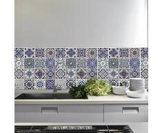 Walplus wm5107 X 8 Piezas español Azul Azulejos Adhesivo Decorativo para Pared, Vinilo,, 63,5 x 15 x 15 cm
