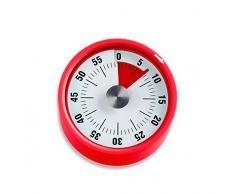 ADE Temporizador de cocina TD1709. Timer redondo magnético con alarma. Plastico y aceró inoxidable 6 cm Color rojo