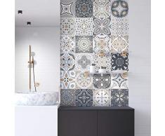 Ambiance-sticker Pegatinas de Azulejos Adhesivas – Adhesivos de Azulejos de Cemento – Decoración de Pared para baño y Cocina – Azulejos de Cemento Adhesivo de Pared – 10 x 10 cm – 9 Piezas