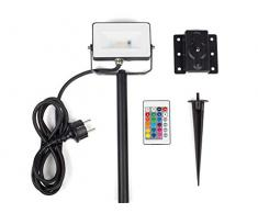 Smartwares FFL-70114 - Foco, LED, + 16 colores, con pincho para el suelo y soporte de pared, blanco