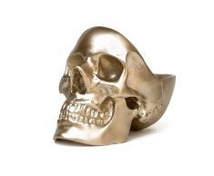 SUCK UK Skull Tidy, Caja, Organizador, Joyero y Estuche Dorado: Perfecto para Guardar Llaves, Joyas, artículos de papelería, Monedas, cosméticos o Accesorios, Plástico Polyresin, 12.5 x 16 x 21.5 cm