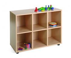 Mobeduc 600206HPS18 - Mueble infantil bajo con 6 casillas, madera, color haya, 90 x 40 x 76.5 cm