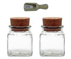 Viva Haushaltswaren Tarros de cristal (6tarros de especias 150ml, con tapón de corcho, para especias Sal, regalos, etc, incluye una pala para especias de madera, vidrio, transparente, 120 ml