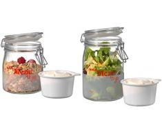 Ritzenhoff & Breker 164350 latas de Set Menue Pack y Snack, 2 piezas, 750 y 1000 ml, cierre hermético tarros, cristal, rojo, 27.00 X 27.00 X 15.00 cm, 2 unidades