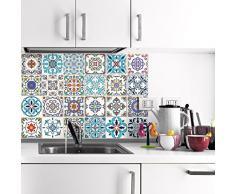 24 pegatinas adhesivos carrelages | adhesivo adhesivo azulejos – Mosaico Azulejos de pared de baño y cocina | azulejos adhesiva – Patchwork – 10 x 10 cm – 24 piezas