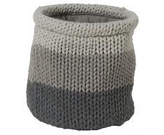 Sealskin Canasta de Almacenamiento Knitted, 15 x 15 x 15 cm, Acrílico, Gris