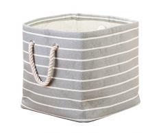 InterDesign Luca - Cubo de tela, para almacenamiento, con manijas; organiza sábanas, almohadas, ropa, toallas - Gris/crema