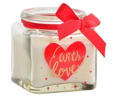 Item Vela Tarro, Diseño Corazón, Cera y Cristal, Rojo, 5x6x5 cm