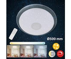 Briloner Leuchten LED Remoto, lámpara de Techo Regulable, Control de Temperatura cromática, 2200 lúmenes, 24 Watt Metal W, Blanco Cromo Ø50 cm
