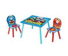 Hello Home Conjunto Infantil de Mesa y Dos Sillas, Madera, Azul, 63.0x63.0x52.5 cm