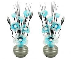 Flourish A juego Par de azul flores artificiales, vidrio, Blue/White in Light Grey Vase, 10 x 10 x 32 cm