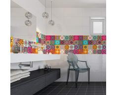 Ambiance Sticker Pegatinas de Azulejos Adhesivos, diseño de Azulejos de Cemento - Decoración de Pared para Cuarto de baño y Cocina - Azulejos de Cemento Adhesivo para Pared - 10 x 10 cm - 24 Unidades