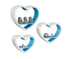 Relaxdays Juego de Estantes Flotantes en Forma de Corazón, Madera MDF, Blanco y Azul, 10x40x33 cm, 3 Unidades