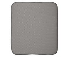 InterDesign iDry Tapete de cocina, alfombrilla escurreplatos grande y gruesa de poliéster y microfibra para un secado rápido, gris estaño/marfil