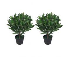 Leaf Par de arbustos Artificiales de 50 cm, Color Verde