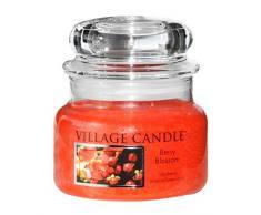 Village Candle Vela Pequeña con Aroma Flor de la Baya, Cristal, Rojo, 9.8x9.5x8.6 cm