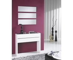 Gomueble 0611015 - Recibidor con espejo, ideal para espacios reducidos, color eco y blanco