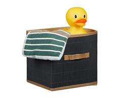 Relaxdays, 28,5 x 28,5 x 28,5 cm, Gris Plegable, Look de bambú, Cuadrada, con agarradero, Caja de almacenaje, estantería