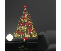 """wallflexi Navidad decoraciones pegatinas de pared """"Magic brilla en la oscuridad Inglés citas árbol de Navidad"""" de pared murales adhesivos salón niños guardería escuela restaurante Cafe Hotel casa oficina decoración, Multicolor"""