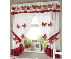 Butterflies 21 Mariposas Cortinas Plisadas de Cocina Cortinas y Abrazaderas, Blanco/Naranja, 46x 42Pulgadas, poliéster, Blanco y Naranja, 46 x 42-Inch
