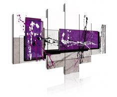 DEKOARTE 242 - Cuadro moderno en lienzo 5 piezas estilo abstracto en tonos morado, blanco y negro, 180x3x85cm