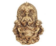 Diseño Toscano Santa Guardian Angels Pared Escultura de Fuente, Dorado