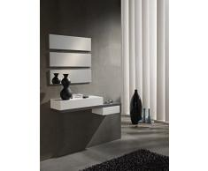 Gomueble 0619015 - Recibidor con espejo, ideal para espacios reducidos, color eco y blanco