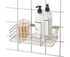 iDesign Cesta colgante para sistema modular, gran estante de pared de metal para cocina, baño y oficina, cesto organizador para su correspondiente rejilla de pared, plateado mate