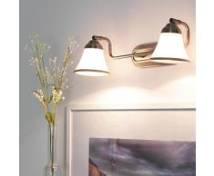 Lámpara decorativa de baño con 2 luces, aspecto de bronce. 2 bombillas E14IP20, luz para espejo de baño de estilo modernista